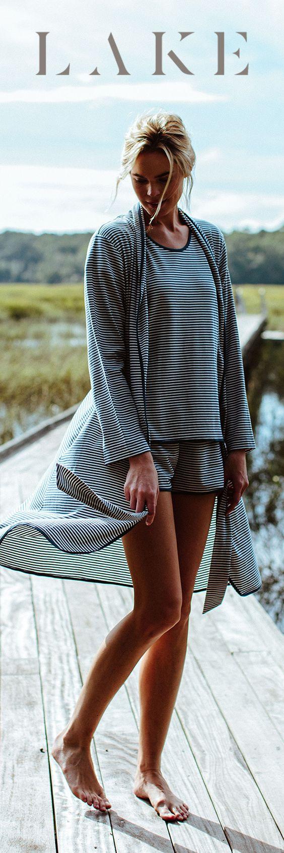 LAKE pima cotton pajamas. Robe & Shorts set. Sailor stripe.