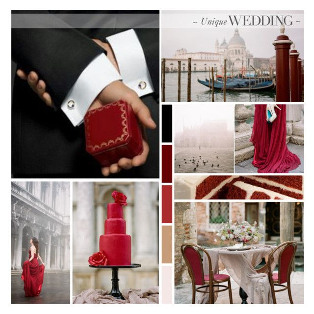 Venice Red Wedding Inspiration by anna-nemesis on Polyvore featuring art, red and wedding