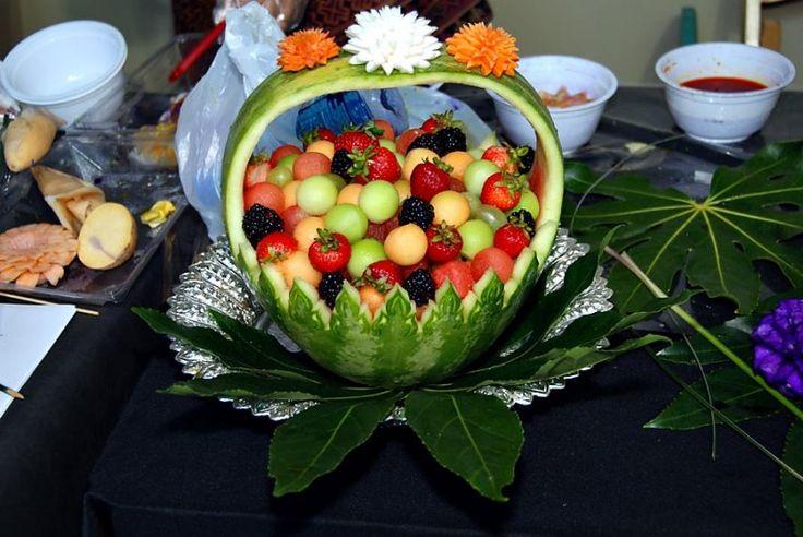 Fruit basket edible and vegetable carvings