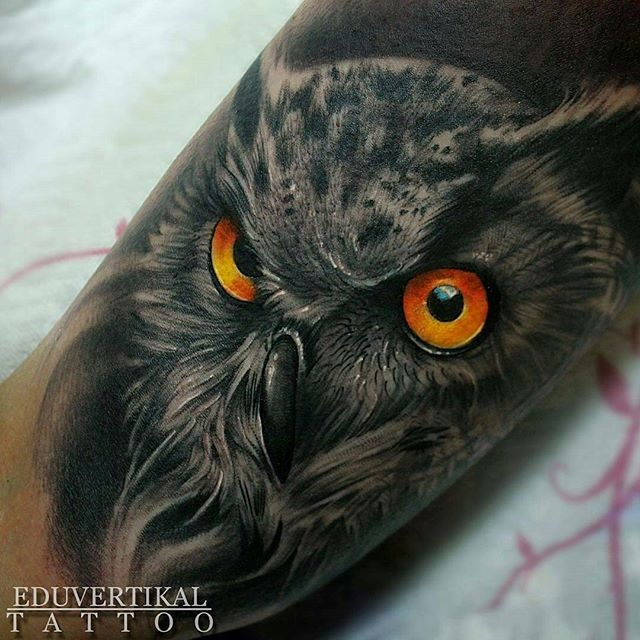 Great tattoo @eduvertikal - •EDU2016 - OWL (Tatuaje realizado en @wanted_tattoo_studio ) con cremas @balm_tattoo  @thebestspaintattooartists  @thebesttattooartists @skinart_mag  #owl #owls #owllove