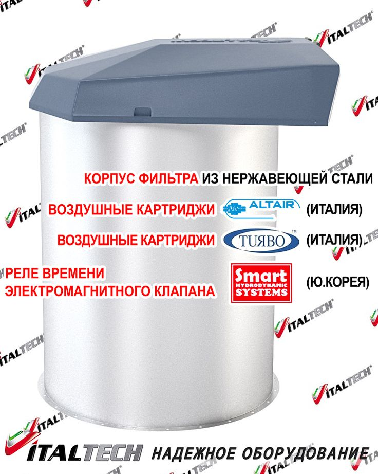 Air filter for cement silo SILOJET V1 ITALTECH http://www.italtech.biz/products/vozdushnye-filtry-i-sistemy-aspiratsii/vozdushnyy-filtr-silosa-tsementa-silojet-v1-italtech/?utm_source=social&utm_medium=post&utm_campaign=regular_posting_eng  It is designed for continuous cleaning of air flow from fine, coarse-grained dry, easily cleaned dust after transporting the material to it and before being ejected from the container into the atmosphere.  Features: ✅ three filter elements TURBO (Italy)…
