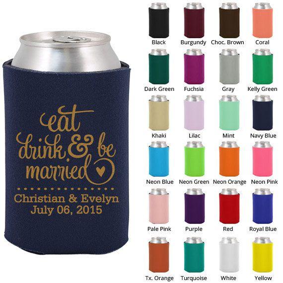 Personalized Wedding Koozies (Clipart 1562) Eat Drink and Be Married - Koozies - Custom Koozies - Wedding Favor Koozie - Beer Coozie