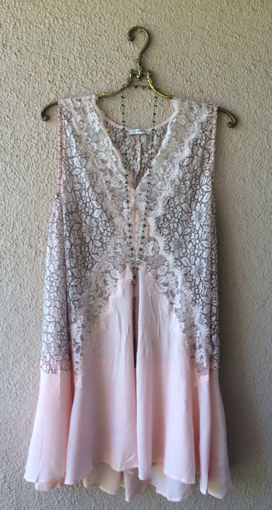 Image of Resort Kimchi & Blue Nude blush pink eyelash lace top gypsy romantic bohemian dress