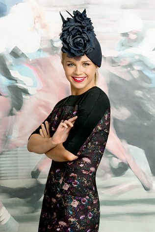 Emma Freedman in Scanlan & Theodore dress and Nerida Winter headpiece. #passion4hats