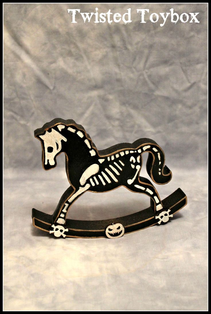 Skeleton Rocking Horse - small Halloween Decoration handpainted gift by TwistedToyboxShop on Etsy https://www.etsy.com/listing/564498871/skeleton-rocking-horse-small-halloween
