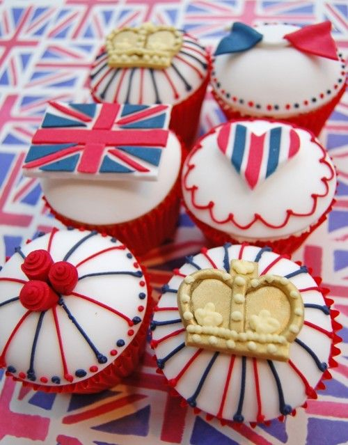 British cupcakes: English Cupcakes, British Cupcakes, Theme Cupcakes, London Cupcakes, The Queen, Fairies Cakes, Cupcakes Rosa-Choqu, Cupcakes Cakes, Union Jack