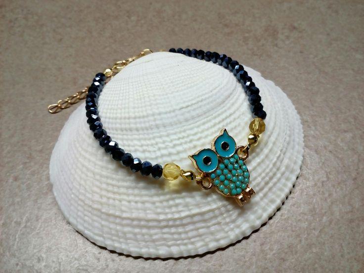 Owl bracelet with crystal beads