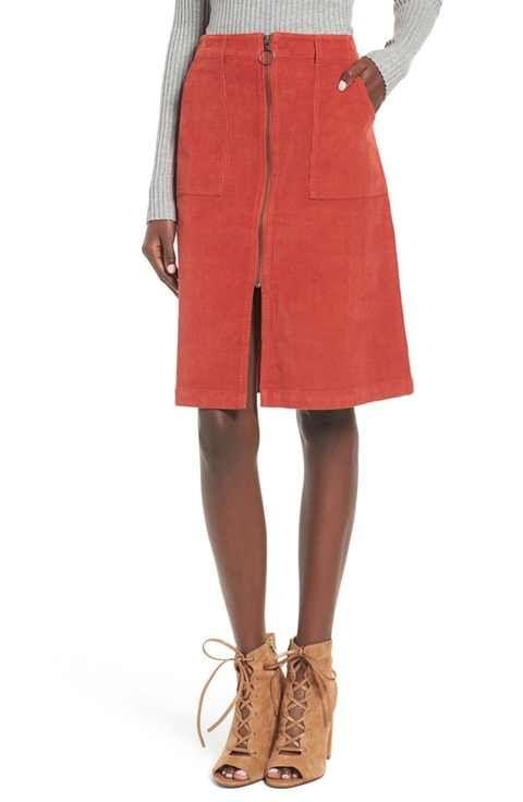 Sun & Shadow Corduroy A-Line Skirt