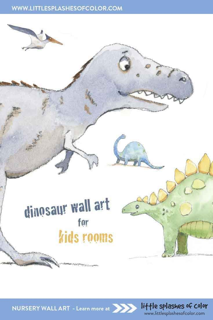 Brontosaurus Tyrannosaurus Rex Triceratops Dinosaur Inspirational Nursery Art Decor Set of 4 Prints Stegosaurus Playroom or Kids Room Decor