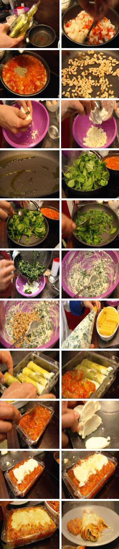 Stap voor stap foto's om een recept van canneloni met spinazie en ricotta klaar te maken