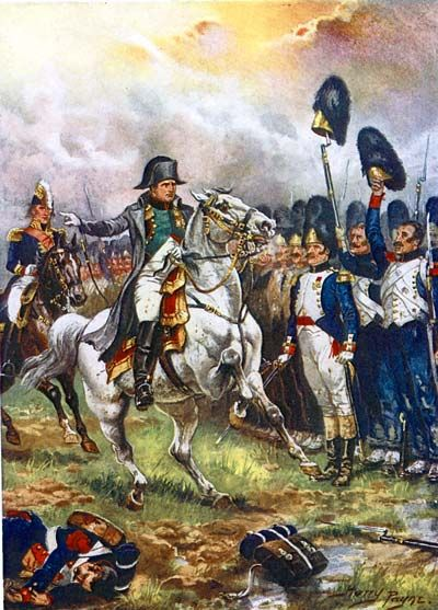 The Emperor Napoleon addresses his Guard during the Battle of Waterloo June 18, 1815.