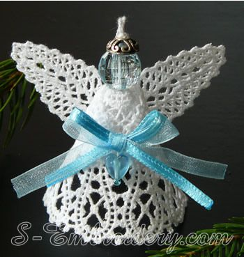 3D Angel Battenberg lace Christmas ornament  - mono color version