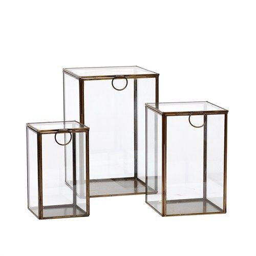 Nydelige stående glassbokser fra Hübsch home2home.no