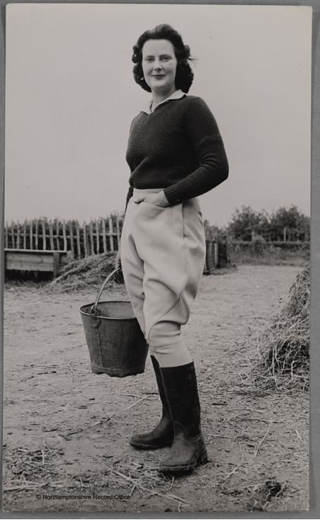 Miss Land Girl 1944 Peta Bradford in training at Northamptonshire Institute Of Agriculture Source: D8817, Northamptonshire Record Office. Courtesy of Dr David Wilson.