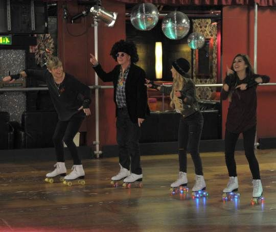 X Factor judge Louis Walsh channels his inner 70's fashion as he goes to a roller disco with his act Only the Young