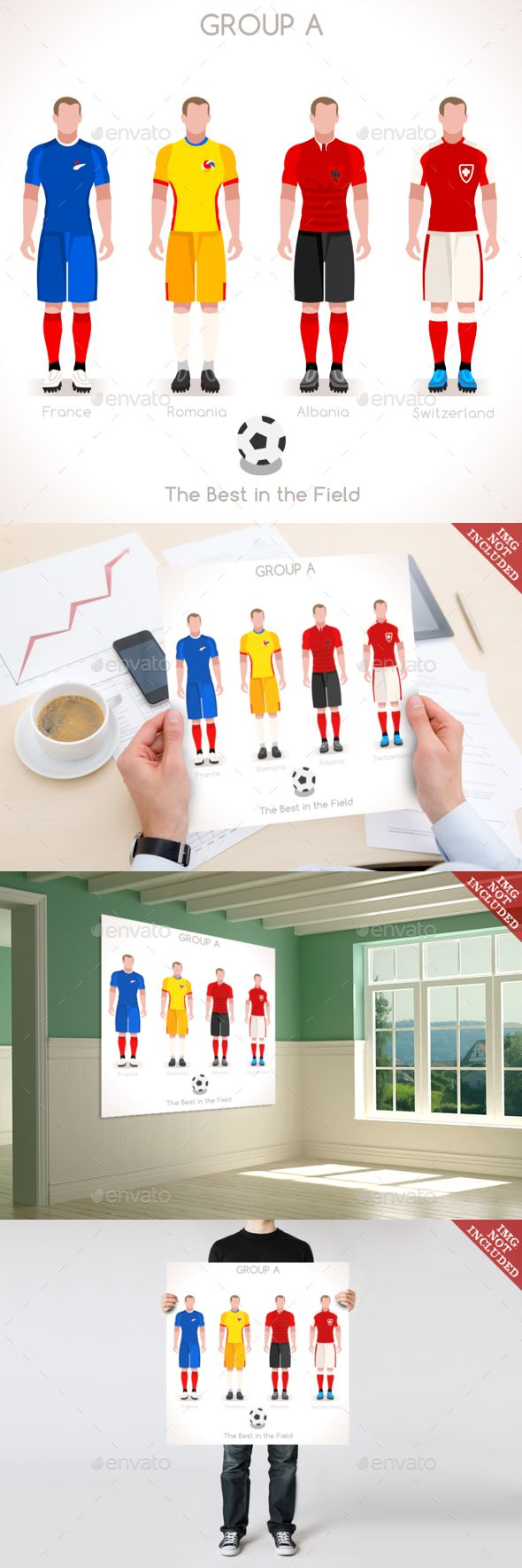 EURO 2016 GROUP A Championship by aurielaki Championship Infographic Qualified Soccer Players GROUP A. Football Game jersey flags of final participating countries. Flat Peopl