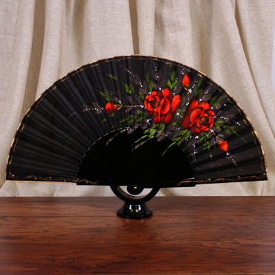 Wood 'Abanico' Fan - Red Rose