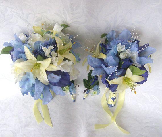 Wedding bouquet blue iris and hydrangea - ChurchMouseCreations, Etsy