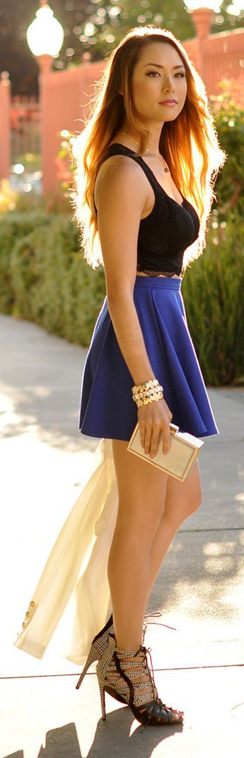 https://www.pinterest.com/myfashionintere/ Cobalt Blue Skirt Styling by Hapa Time
