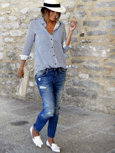 Blue Lapel Vertical Striped Blouse