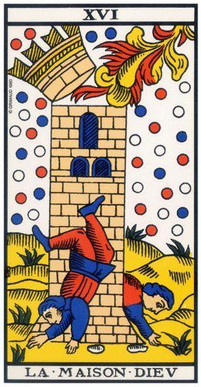 La Maison-Dieu  dans le tarot de Marseille, qui correspond aux pénates de l'oracle de belline. Une crise salutaire avec un retour en arrière pour repartir sur des bases plus saines.