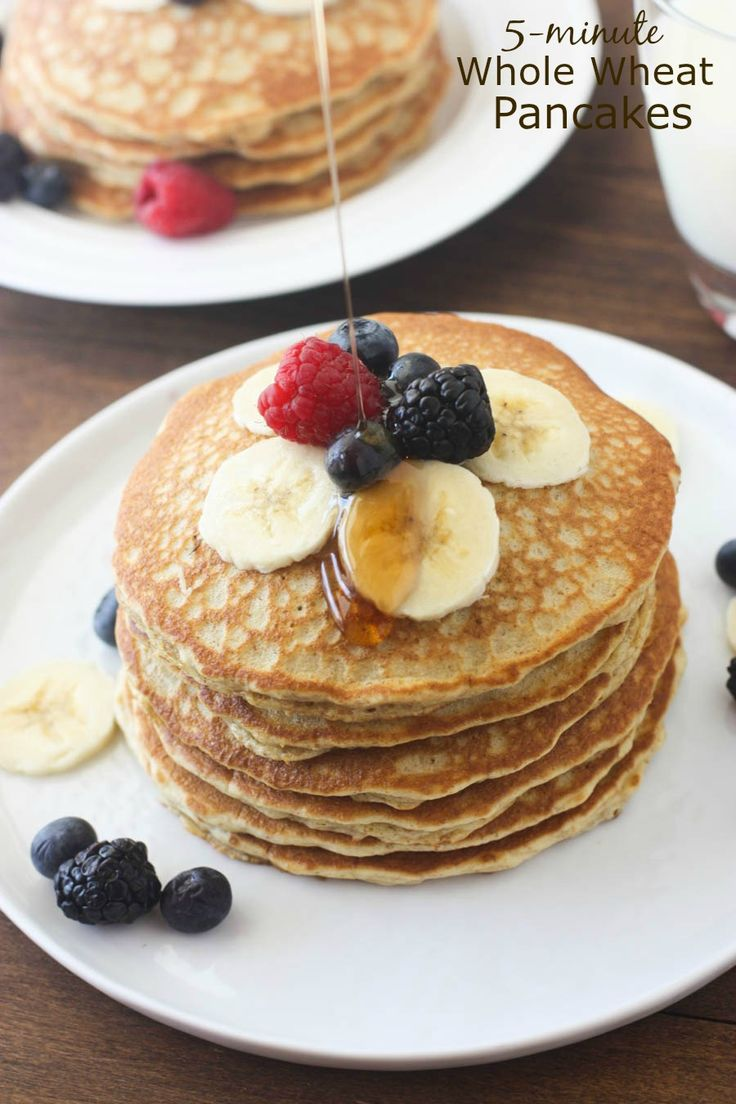 The BEST light and fluffy whole wheat pancakes that only take 5 minute to make! You will never make regular pancakes again! For those of you with New Year's resolutions to eat healthier, how's it coming?! I'm proud to report that on of the biggest changes we have stuck to this year is using whole …