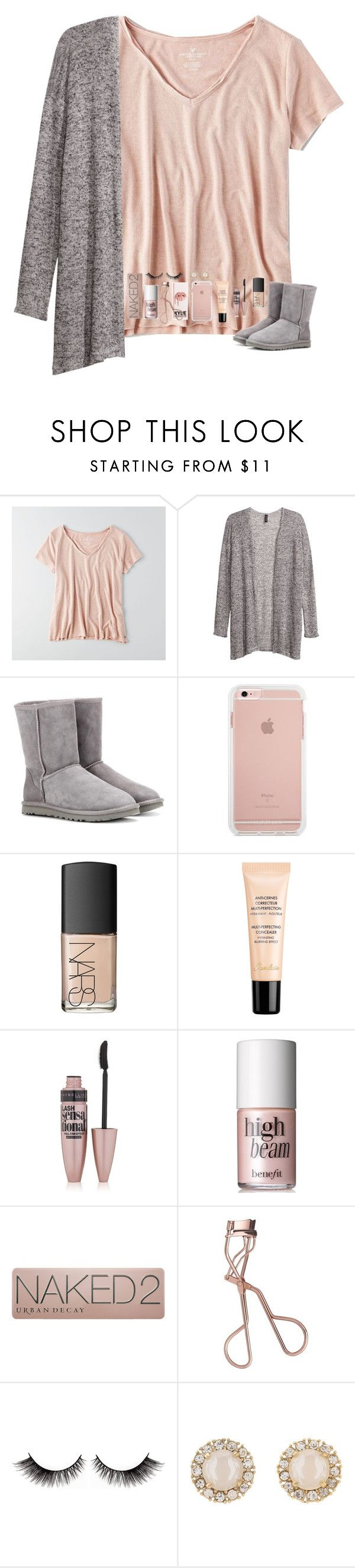 """Comment some active people for me to follow!"" by tropical-girl-xo ❤ liked on Polyvore featuring American Eagle Outfitters, H&M, UGG Australia, NARS Cosmetics, Guerlain, Maybelline, Benefit, Urban Decay, Charlotte Tilbury and Kate Spade"