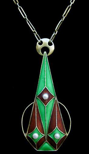 Jugendstil gilded silver pendant enamelled in green and orange set with…
