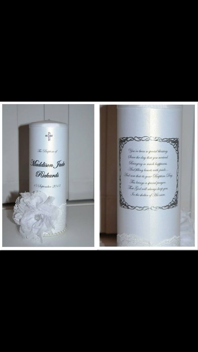 Stunning and elegant this candle is trimmed with an antique lace, pearls, lace flower with a diamanté centre and diamanté cross. Verse/ Poem included on back of candle. Custom designed by Flickering Moments Candle & Gift Designs. Can be personalised with any name, date, poem or verse.