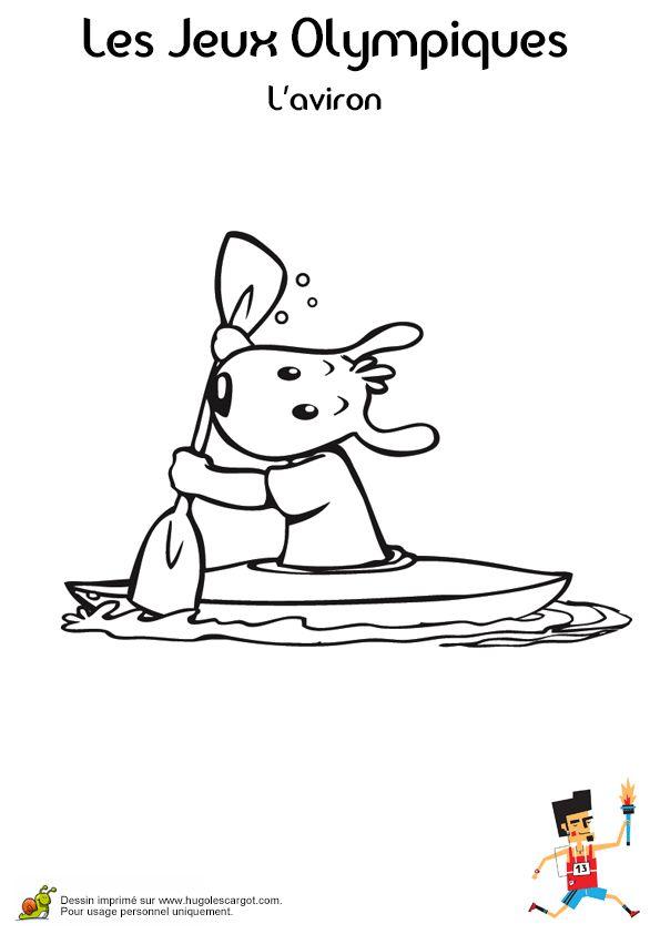 Coloriage d'un petit chien qui rame fort lors de la partie d'aviron aux Jeux Olympiques
