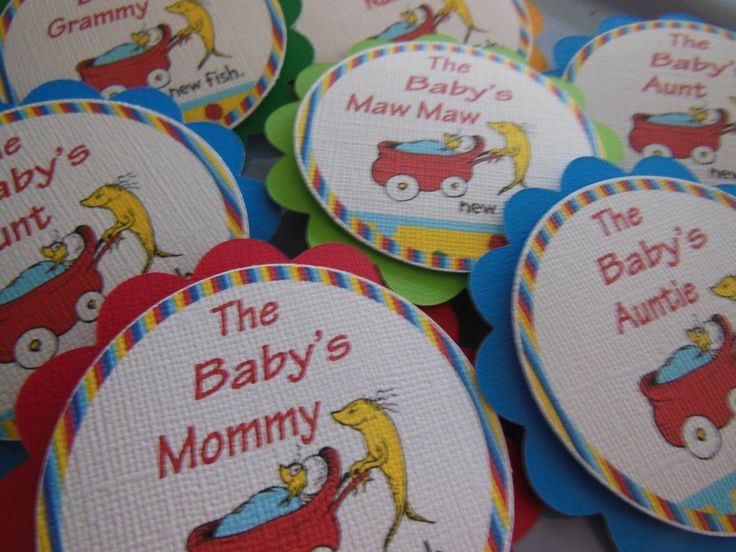 dr seuss baby shower ideas | Dr seuss Baby Shower name tags Match your theme custom tags with pins