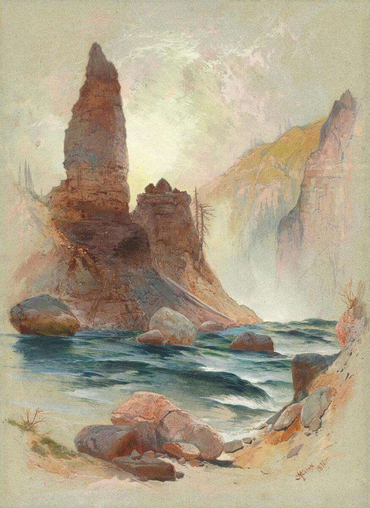 """Thomas Moran, """"Tower of Tower Falls Yellowstone,"""" 1872"""
