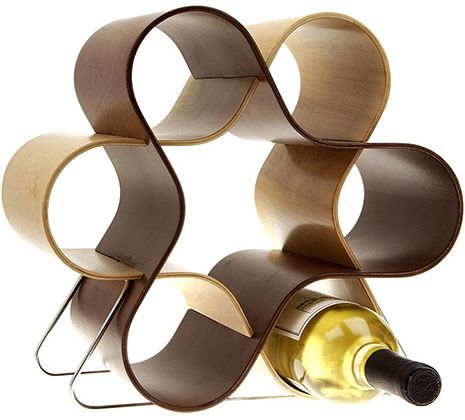 2 curved pieces of wood, creating a beautiful 7 bottle wine rack. Pretty cool.  appliancist.com