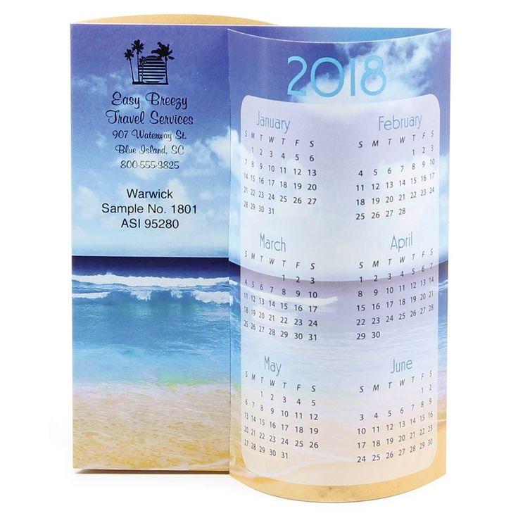 Tropical Beach Wave Promotional Calendar  - customize with your logo! Travel Agent marketing idea, Travel agent giveaway, Travel agent promotion idea, Travel agent branding tips, | On The Ball Promotions