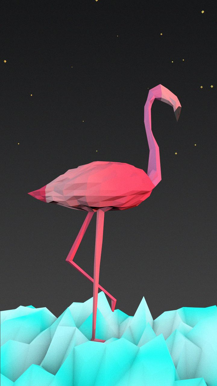 Low ploy Flamingo in ice
