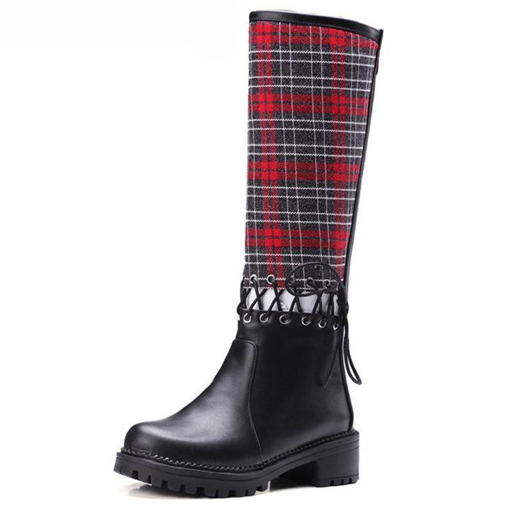 По Колено Женщины, Верхом Сапоги Туфли На Платформе Женщина На Низком Каблуке Британском Стиле Панк Длинные Сапоги Случайные Женская Обувь Плюс размер 35-42