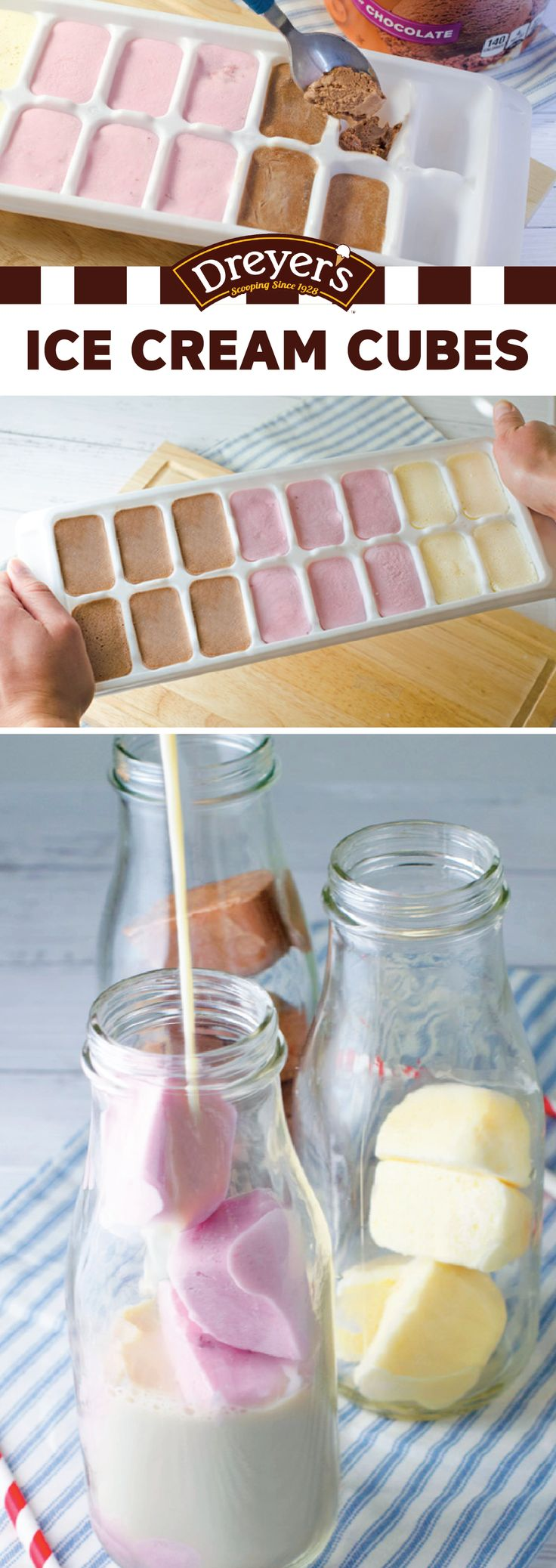 Surprise your kids with a frozen treat that will make their milk a whole lot cooler! Scoop their favorite Dreyer's ice cream flavors into ice cube trays and put back in the freezer to harden. Then, add a cube to a glass of milk for a touch of sweet flavor. This tasty kitchen hack also goes great with coffee or floats!