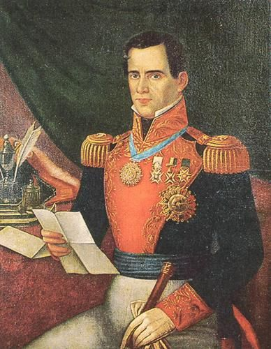 """Antonio López de Santa Anna"" painting from the mid-19th century. The image shows Santa Anna in a military uniform."