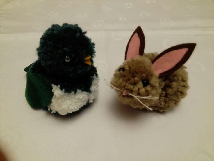 Ptáček a králíček z bambulek