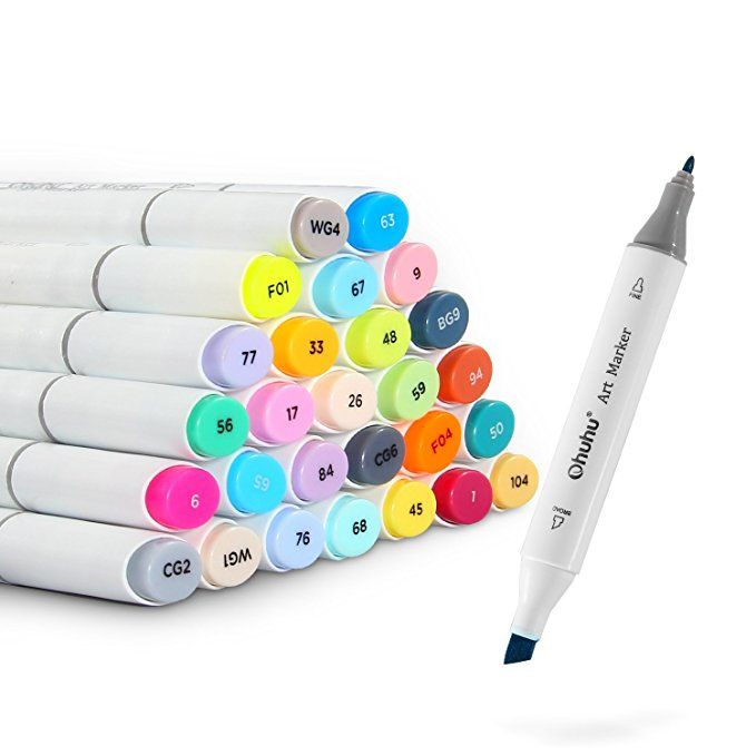 Ohuhu 80 Colors Dual Tips Art Sketch Twin Marker Pens Highlighters with Carry...
