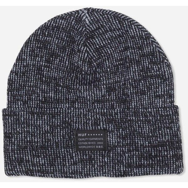 Huf Mixed Yarn Beanie Hat - Black (1.570 RUB) ❤ liked on Polyvore featuring mens, men's accessories, men's hats, hats, accessories, acc, beanies and black