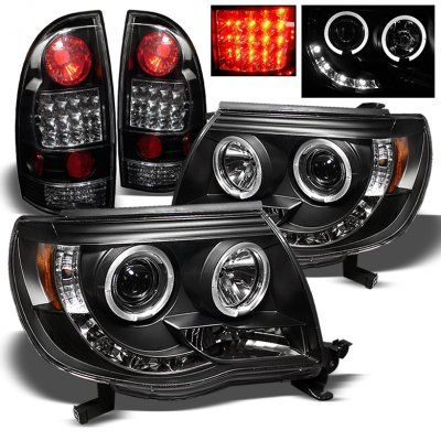 Toyota Tacoma 2005-2011 Black Halo Projector Headlights and LED Tail Lights