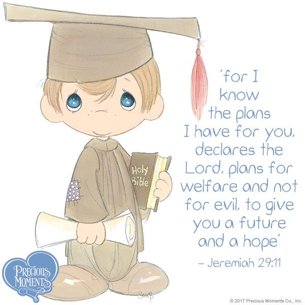 Remember, the Bible is the most important book you will ever read. Earn a degree in faith by placing all of your trust in Him. #PreciousMoments #LifesPreciousMoments #Graduation #ClassOf2017