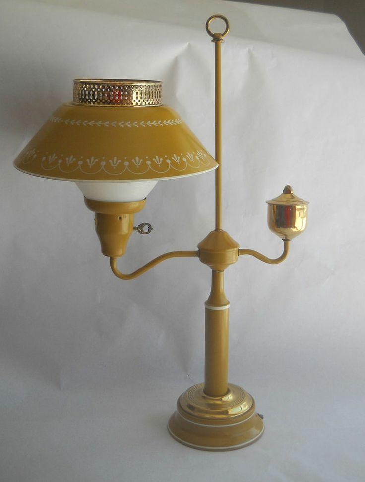 vintage mid century yellow mustard metal tole student desk lamp light. Black Bedroom Furniture Sets. Home Design Ideas