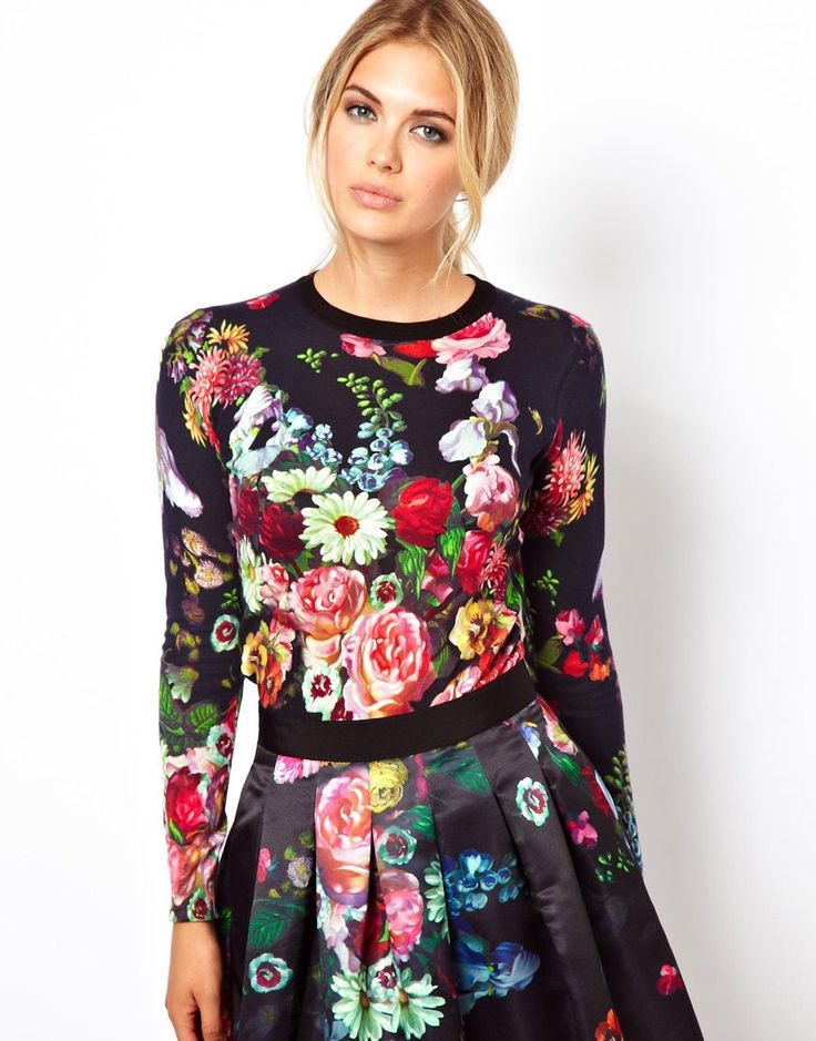 Ted Baker | Ted Baker Floral Print Fine Knit Top at ASOS