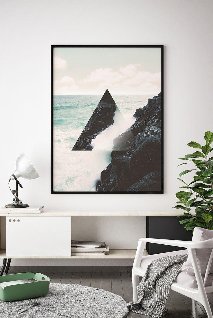 Abstract Coastal Print, Abstract Ocean Printable, Teal Ocean Print, Modern Ocean Print, Modern Ocean Printable, Wall Art, Geometric Triangle