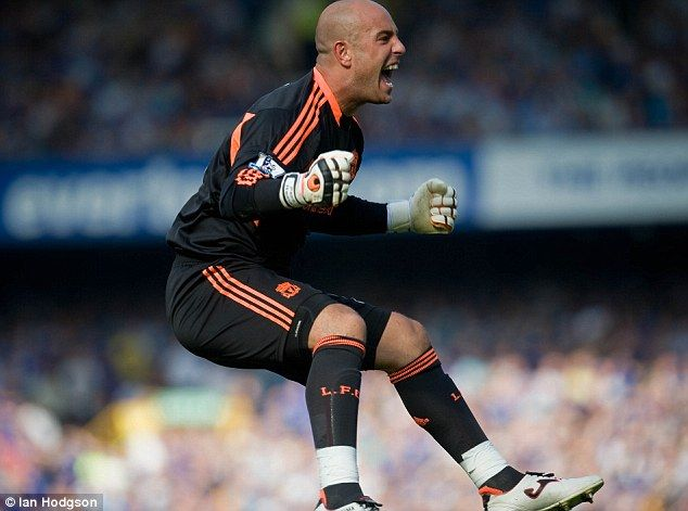 Pepe Reina jumps for joy as Liverpool score in the Merseyside derby of October 2011