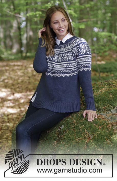 Lofoten / DROPS 181-9 - Bluse med rundt bærestykke, norsk mønster i flere farver og A-facon, strikket ovenfra og ned. Størrelse S - XXXL. Arbejdet er strikket i DROPS Lima.