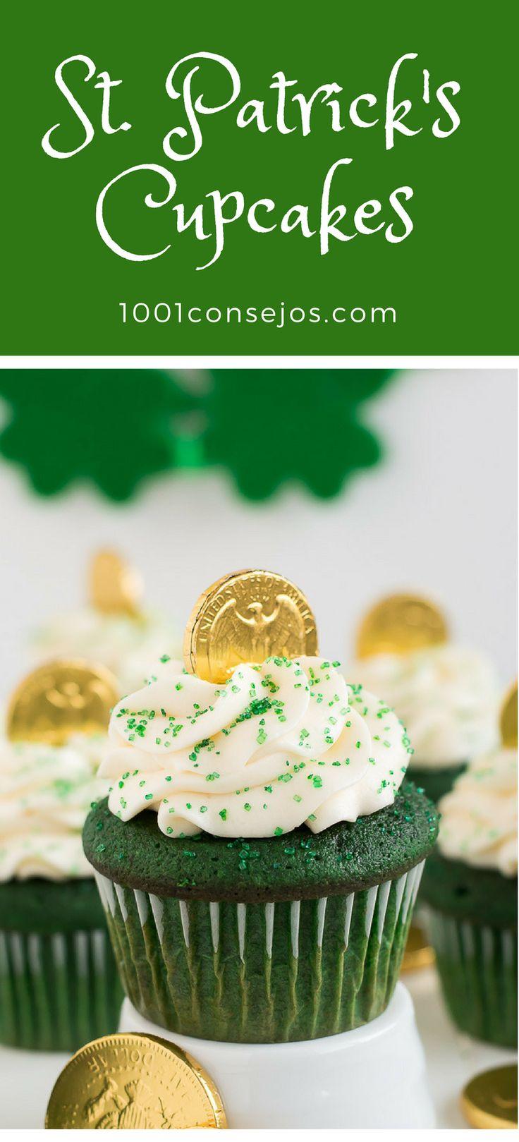 Aprende a hacer estos deliciosos #cupcakes para el día de San Patricio. Descubre la receta completa... | #stpatricksday día de san patricio | st patricks day food desserts | st patricks day cupcakes recipes.