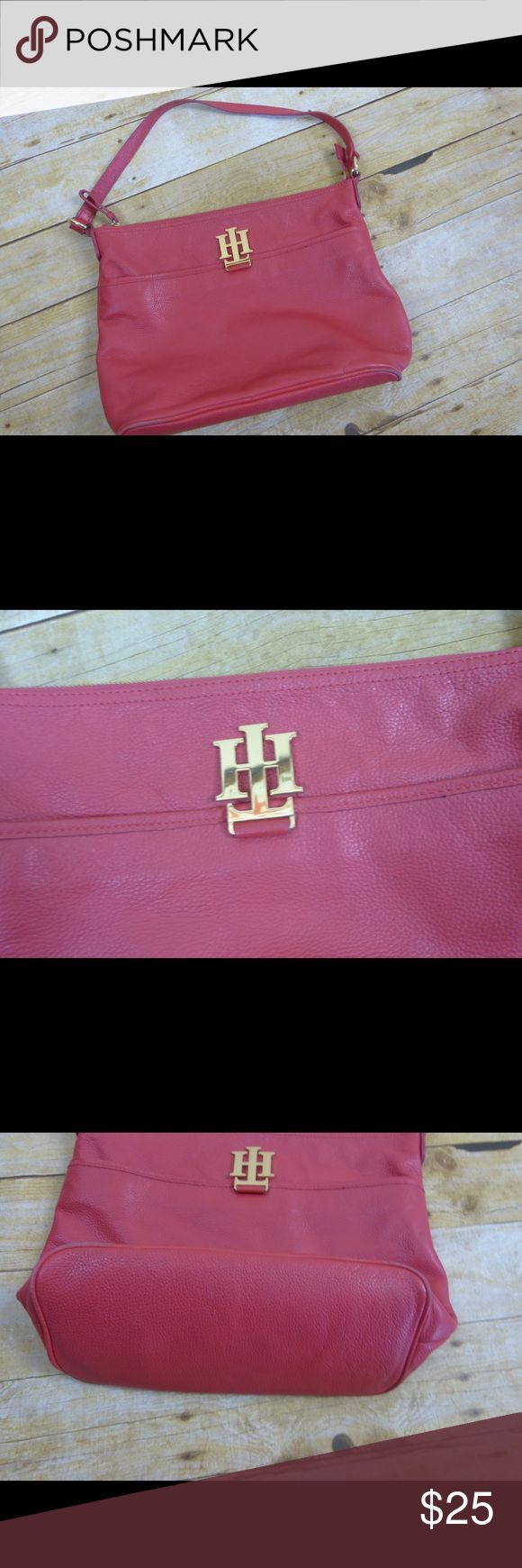 "Tommy Hilfiger Red Leather Purse Bag Tommy Hilfiger Red Leather Purse Bag  Genuine Leather  Gold hardware 11"" strap drop Bag measures 14.5"" x 5.5"" x 11"" Tommy Hilfiger Bags Shoulder Bags"